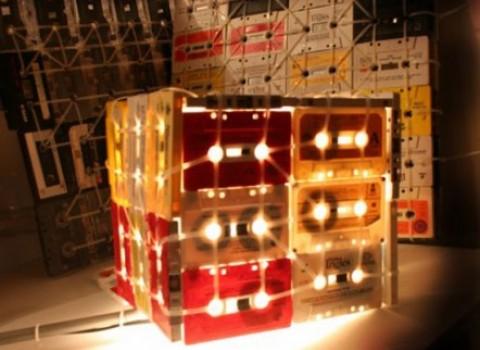 κασέτες φωτιστικό φτιάξτο μόνος σου DIY