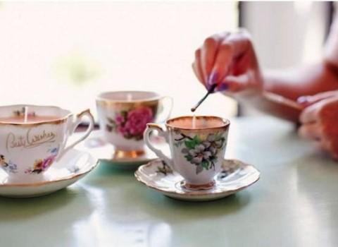 κεριά χειροποίητα αρωματικά σετ τσάι φλυτζάνια