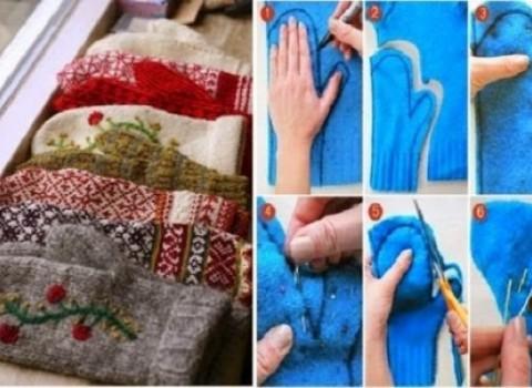 γάντια πούλοβερ φτιάξτο μόνος σου diy